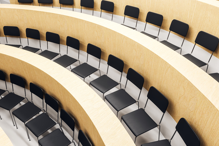 Contemporary wooden auditorium interior with seats. Conference concept. 3D Rendering