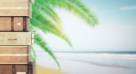 Stacked suitcases on blurry palm beach background. Vacation and holiday concept. 3D Rendering