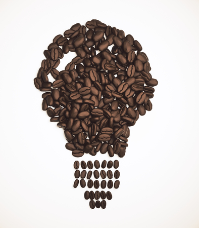 Abstract coffee bean lamp on white background. Idea, innovation and energy concept. 3D Rendering