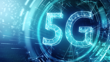 Creative glowing 5G backdrop. Mobile internet concept. 3D Rendering Stockfoto