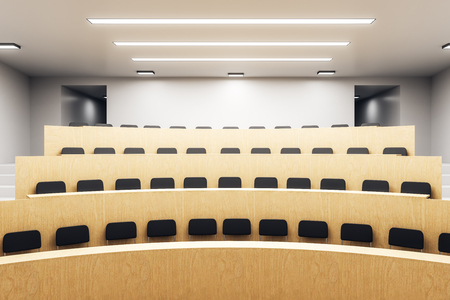Modern wooden auditorium interior with seats. Conference concept. 3D Rendering