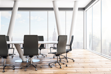 Contemporary meeting room interior with furniture and panoramic New York city view. 3D Rendering