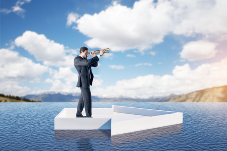 Businessman using binoculars while standing on abstract water arrow on landscape background. Vision and forward concept. 3D Rendering 版權商用圖片 - 107086981