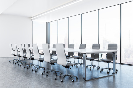 Clean conference room interior with furniture and panoramic New York city view. 3D Rendering Zdjęcie Seryjne