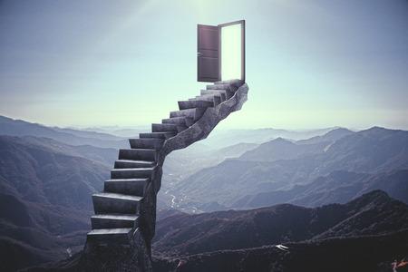 Streszczenie schody z otwartymi drzwiami na tle krajobrazu. Koncepcja możliwości. Renderowanie 3D