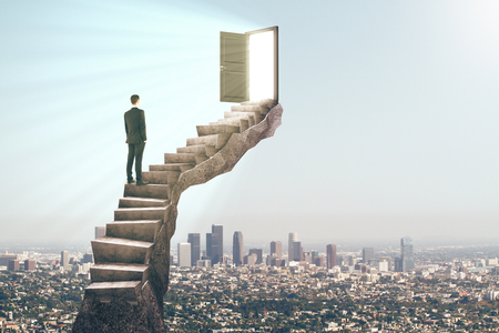 Man standing on stairs with abstract open door. City background. Dream, exit and success concept. 3D Rendering