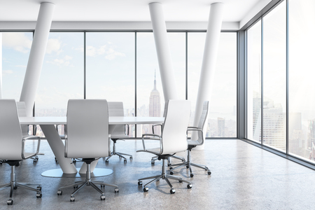 Contemporary conference room interior with furniture and panoramic New York city view. 3D Rendering