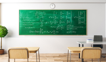 Modern classroom interior with mathematical formulas on blackboard. Science and lesson concept. 3D Rendering Stock Photo