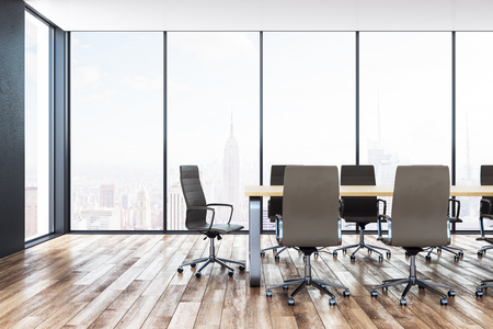 Bright meeting room interior with furniture and panoramic New York city view. 3D Rendering Zdjęcie Seryjne