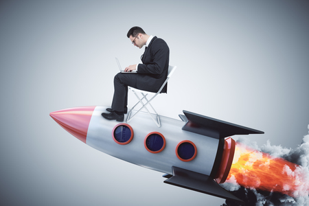 Businessman on creative launching rocket. Startup and technology concept. 3D Rendering