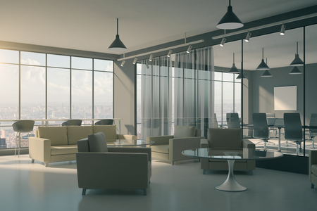 Contemporary office lobby interior with furniture and waiting area. Workplace design concept. 3D Rendering Stock fotó - 107087573