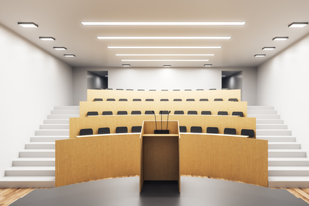 Modern wooden concrete auditorium interior with stage. University and conference concept. 3D Rendering