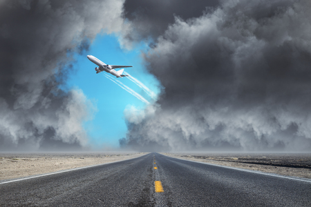 Airplane on dull cloudy sky backdrop. Transport and travel concept
