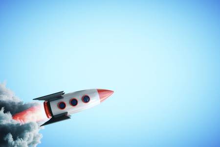 Creative launching space ship on blue background. Start up concept. 3D Rendering Stok Fotoğraf