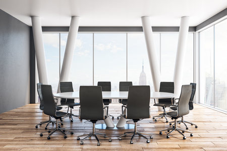 Clean meeting room interior with furniture and panoramic New York city view. 3D Rendering Zdjęcie Seryjne