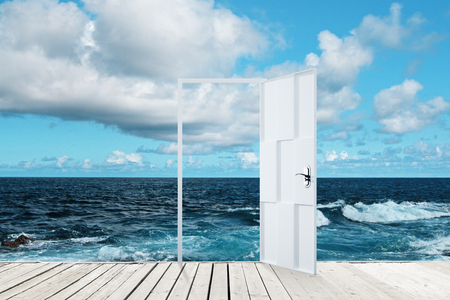 Abstract open door on creative sea background. Travel, opportunity and dream concept 版權商用圖片