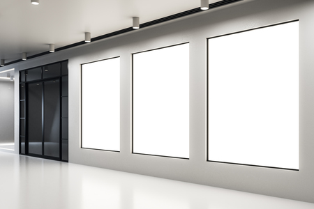 Blank poster in modern concrete interior. Gallery and museum concept. Mock up, 3D Rendering Banco de Imagens