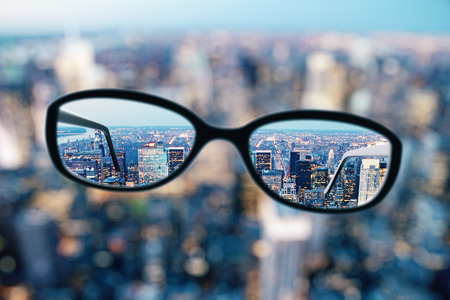 Close up of eyeglasses on blurry city background. Clean vision concept. 3D Rendering Stok Fotoğraf