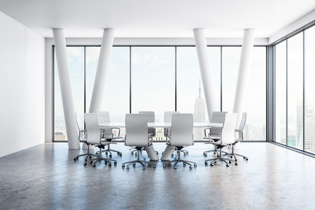 Bright conference room interior with furniture and panoramic New York city view. 3D Rendering Zdjęcie Seryjne - 107537487