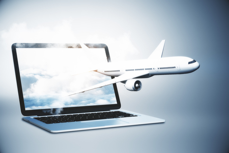Airplane flying out of laptop screen with sky. Online booking and travel concept. 3D Rendering Stock Photo