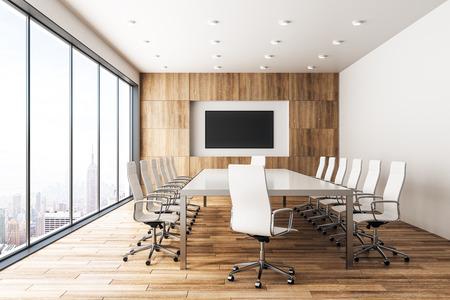 Intérieur de la salle de réunion en bois moderne avec bannière vide et vue panoramique sur la ville avec la lumière du soleil. Maquette, rendu 3D