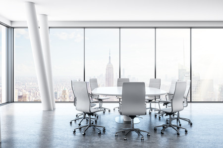 White conference room interior with furniture and panoramic New York city view. 3D Rendering Zdjęcie Seryjne