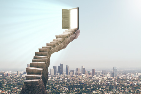 Abstract stairs with open door on city background. Opportunity concept. 3D Rendering