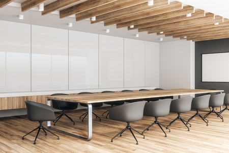 Contemporary wooden meeting room interior with empty billboard. Mock up, 3D Rendering