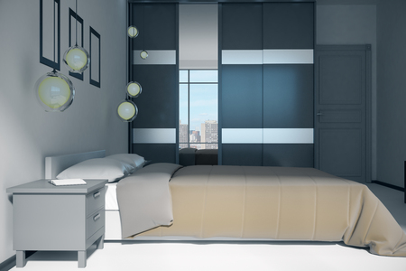 Stylish bedroom interior with panoramic city view and daylight. 3D Rendering Archivio Fotografico - 107537609