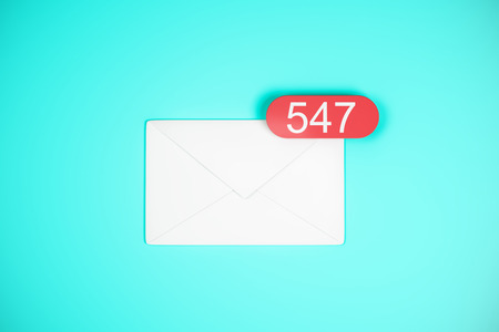 547 white email icons on blue background. Communication and app concept. 3D Rendering Stock Photo