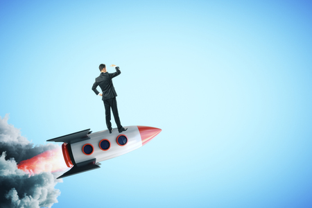 Businessman on creative launching rocket. Startup and vision concept. 3D Rendering