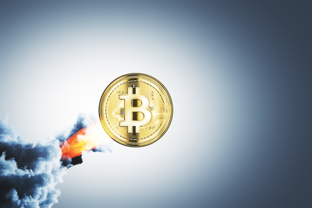 Creative launching bitcoin on gray background. Startup and cryptocurrency concept. 3D Rendering Stock Photo