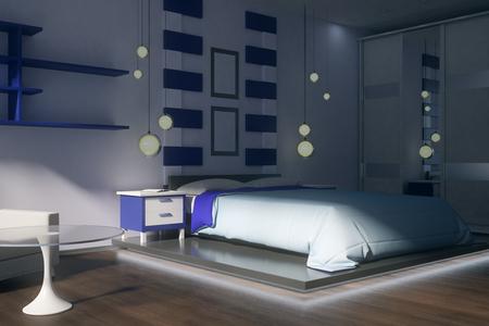 Clean bedroom interior with furniture and sunlight. 3D Rendering Standard-Bild - 107537617