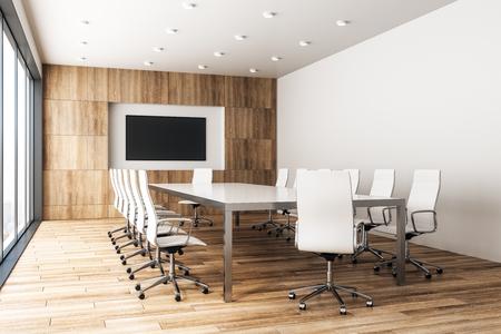 Współczesne drewniane wnętrze sali konferencyjnej z pustym plakatem i panoramicznym widokiem na miasto w świetle słonecznym. Makieta, renderowanie 3D