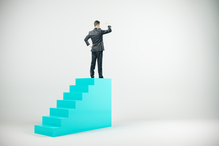 Businessman on top of stairs looking into the distance on yellow background. Career and research concept. 3D Rendering 版權商用圖片 - 107404953
