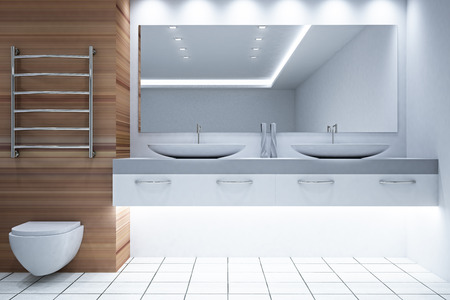Bright white and wooden bathroom interior. Style and design concept. 3D Rendering Banco de Imagens
