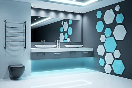 Stylish illuminated futuristic bathroom interior. Style and design concept. 3D Rendering