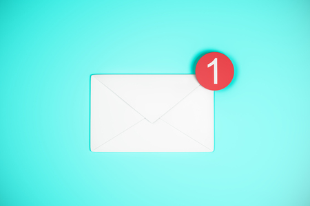 One white email icon on blue background. Communication and app concept. 3D Rendering Stock Photo