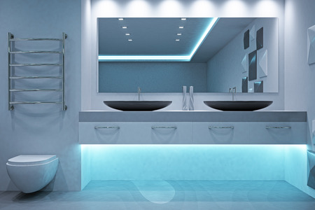 Modern futuristic bathroom interior. Style and design concept. 3D Rendering