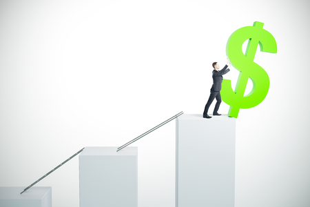 Businessman pushing dollar sign off white stairs. Success and investment concept. 3D Rendering