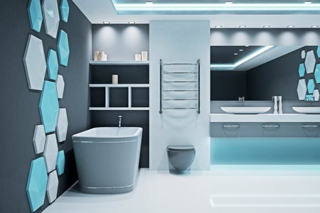 Contemporary illuminated futuristic bathroom interior. Style and design concept. 3D Rendering