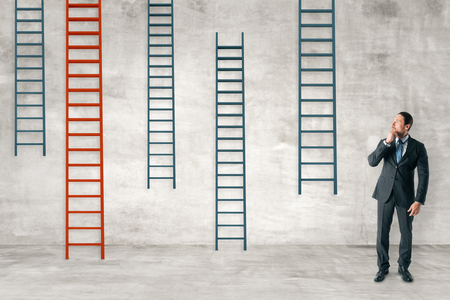 Businessman with ladders on concrete wall background. Career development and future concept. 3D Rendering