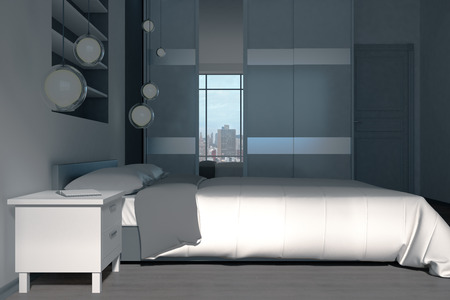 Luxury bedroom interior with panoramic city view and daylight. 3D Rendering Standard-Bild - 108171982
