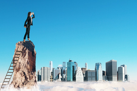 Businesswoman on cliff with ladder on sky city background. Research and future concept