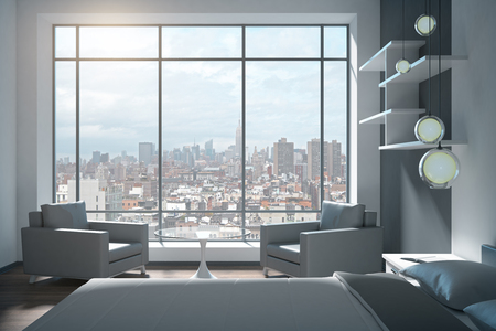 Contemporary bedroom interior with panoramic city view and daylight. 3D Rendering
