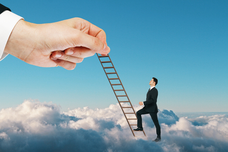Businessman with cloud ladder on sky background. Heaven and future concept Archivio Fotografico - 108172345