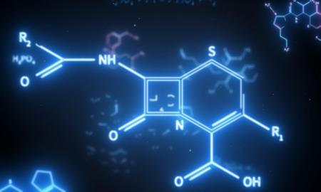 Abstract glowing chemical formula backdrop. Science and chemistry concept. 3D Rendering