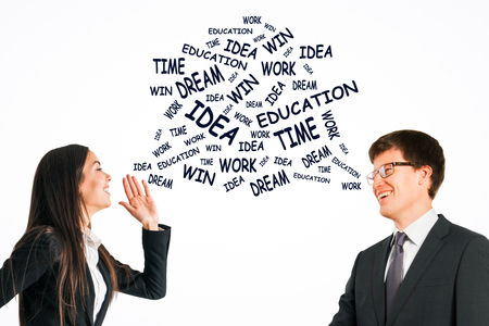 Happy businessman and woman exchanging motivational words on white background. Success and idea concept 版權商用圖片