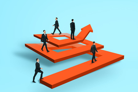 Businesspeople on abstract maze arrow. Teamwork and success concept. 3D Rendering Stock Photo