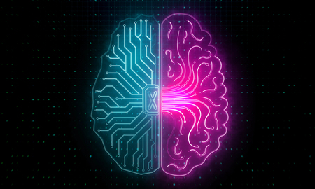 Abstract circuit brain backdrop. Artificial intelligence and future concept. 3D Rendering